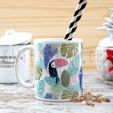 Taza - Tucán tropical con monstera