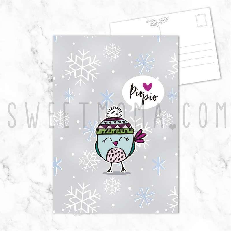 Postal navidad - Pájaro navideño