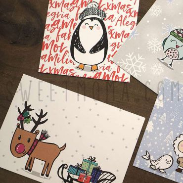 Postal navidad - Familia esquimal