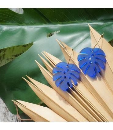 Pendiente Monstera Deliciosa (Azul)