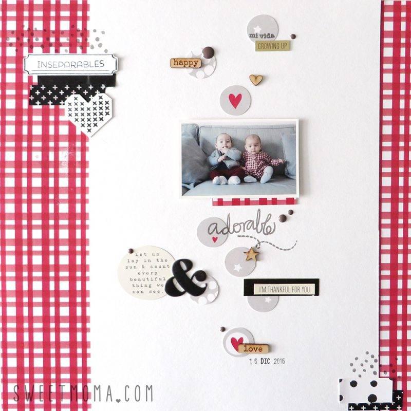 Un layout con adornos creados con papel 1