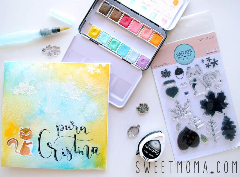 Tutorial Sobre Snail Mail Sellos Sweet Fall y Acuarelas 4