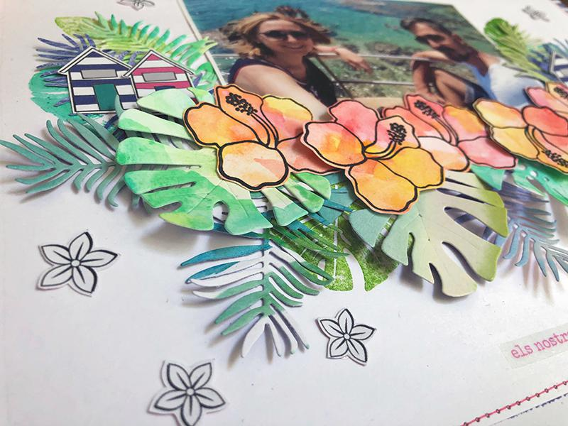 tutorial layout troqueles troquel hoja monstera tropical troquel ABC skinny sweetmomabcn sweetmoma stickers sense tu res stickers contigo todo sello summer vibes pinklemonadebysm pinklemonade scrap pinklemonade papeles sweetmoma mireia sala layout multifoto layout